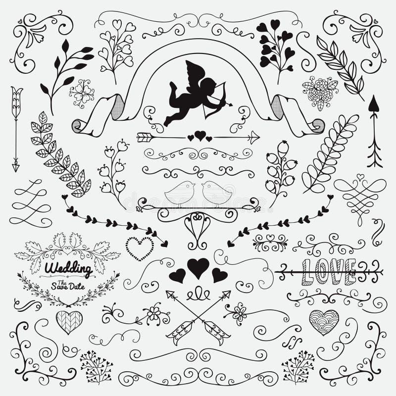 Download Vector Hand Sketched Rustic Floral Design Elements Stock