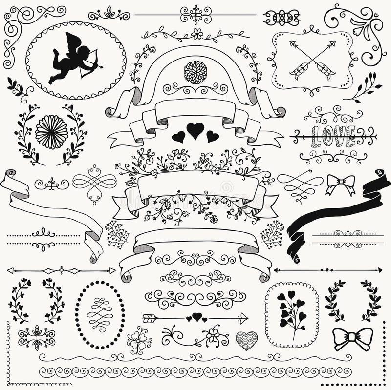 Rustic Scroll Design: Vector Hand Sketched Rustic Floral Design Elements Stock