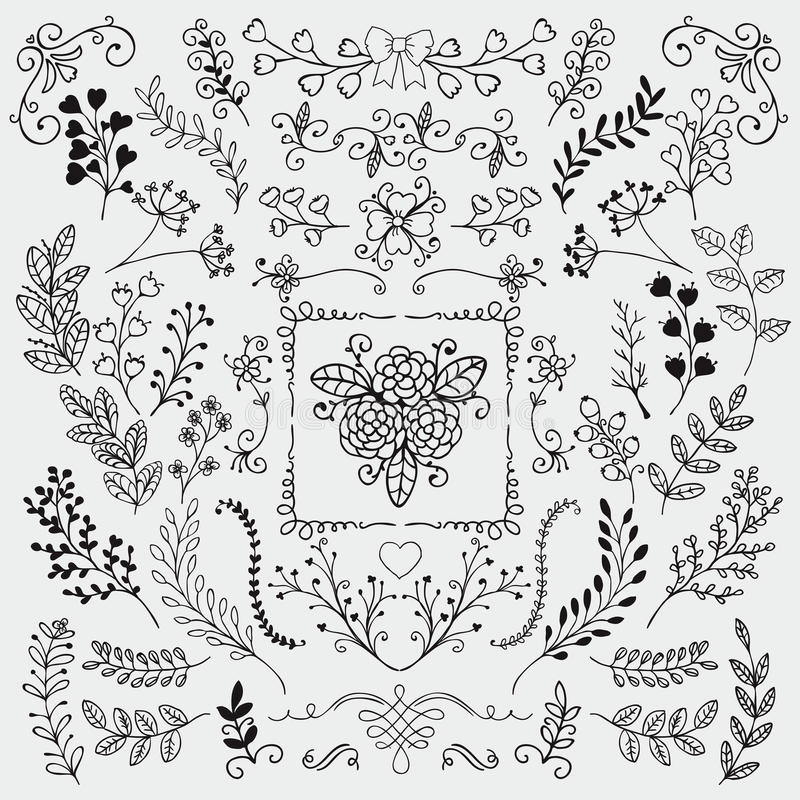 Download Vector Hand Sketched Rustic Floral Doodle Branches Stock