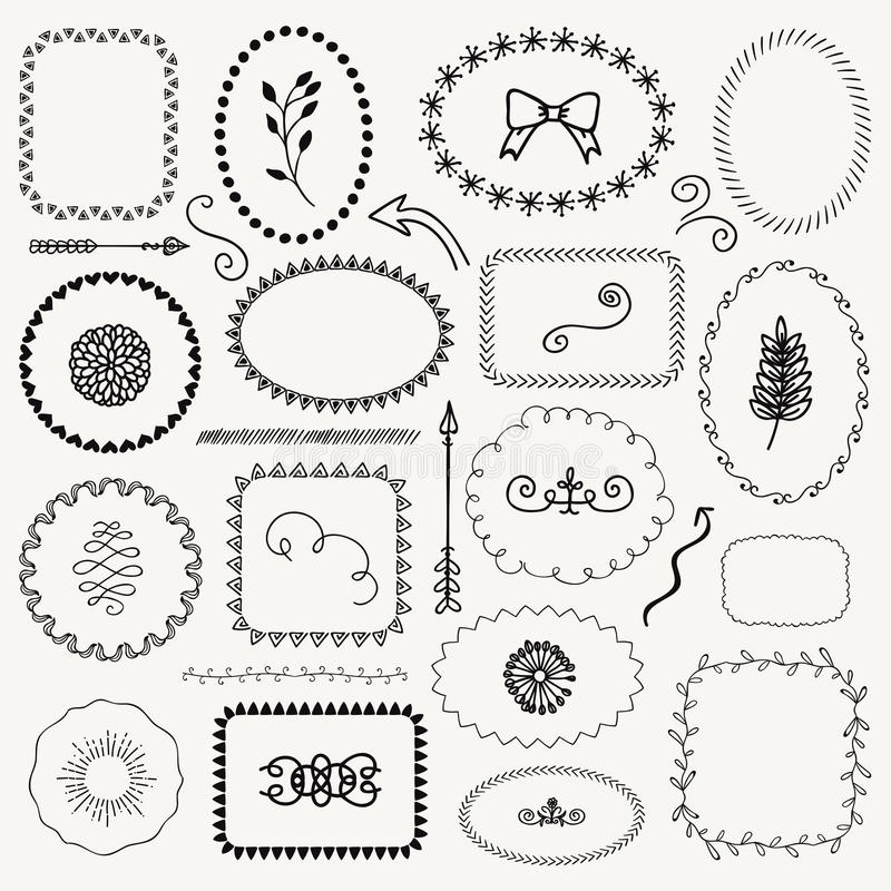 Download Vector Hand Sketched Rustic Frames Borders Elements Stock