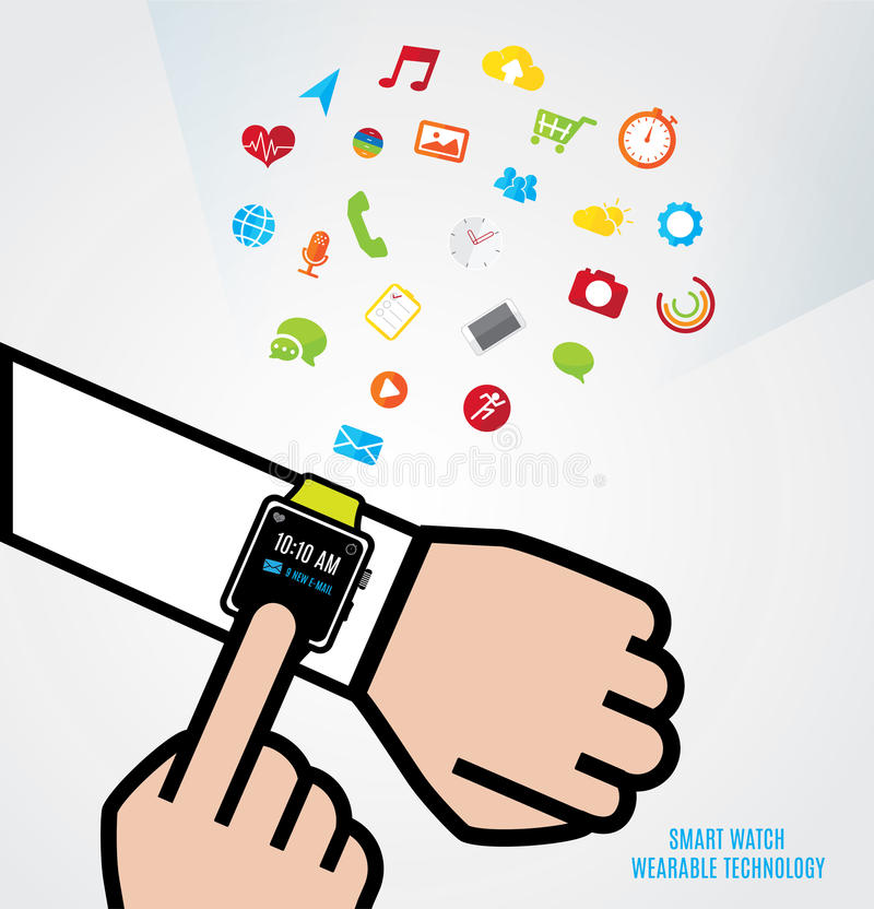 Vector : Hand with smart watch and other hand touch the watch an royalty free illustration