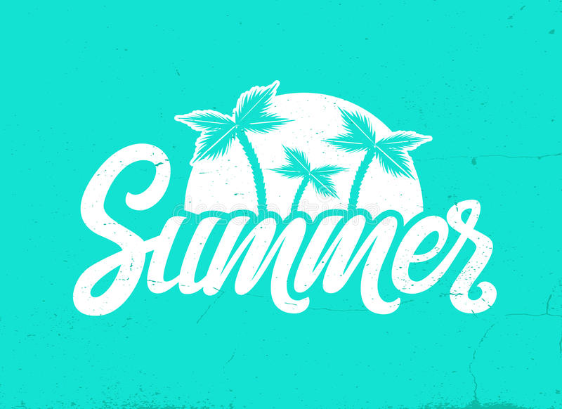 Vector hand written lettering Summer. Lettering vector EPS 10 calligraphy phrase isolated on the background. Fun brush ink typography for photo overlays, t stock illustration
