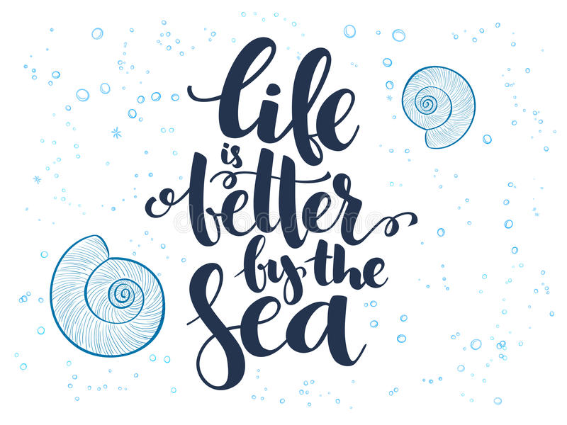 Vector Handbeschriftungs-Sommertext über Meer mit Gekritzeloberteilen und -blasen stock abbildung