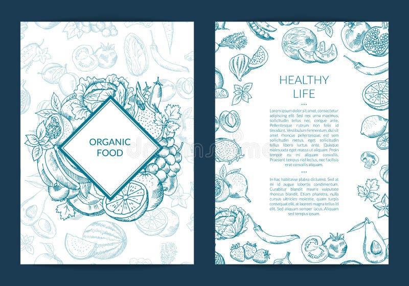 Vector handdrawn fruits and vegetables vegan, healthy food card, brochure vector illustration