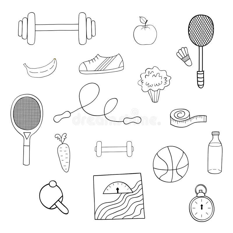 Vector handdrawn illustration set of fitness and sport elements,fruits and vegetables vector illustration