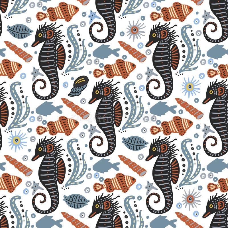 Vector handdrawn overzees patroon met diverse mariene dieren royalty-vrije illustratie