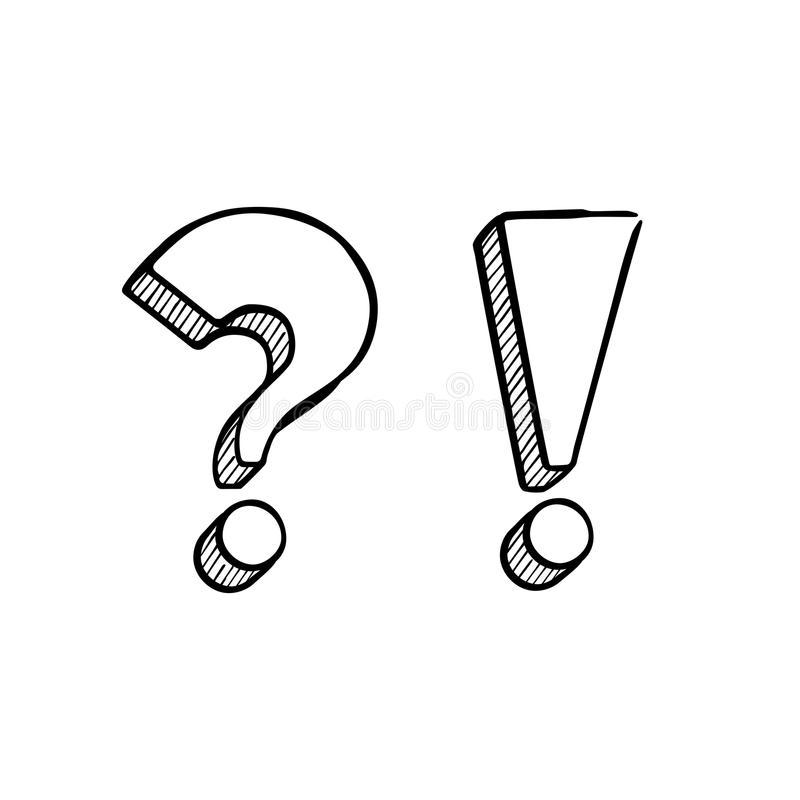 Vector handdrawn question and exclamation marks isolated on white. royalty free illustration