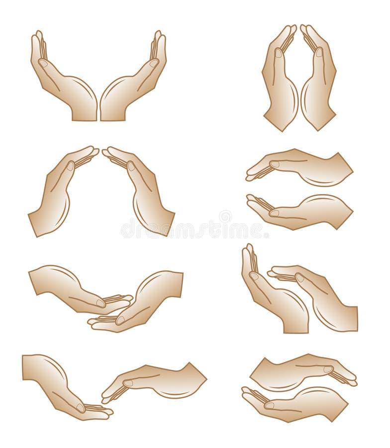 Vector handenpictogrammen stock afbeeldingen