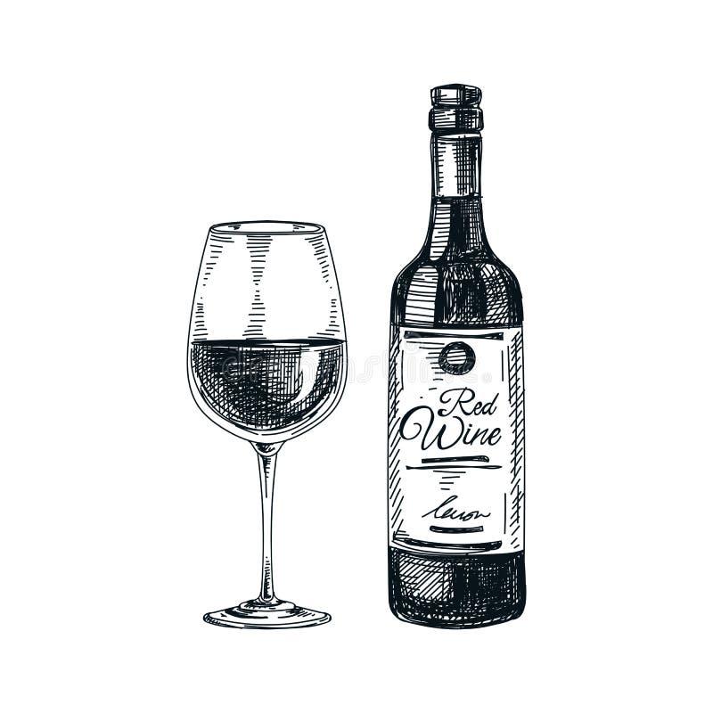 Vector Handgezogenes Glas und Flasche von Wein Illustration lizenzfreie abbildung