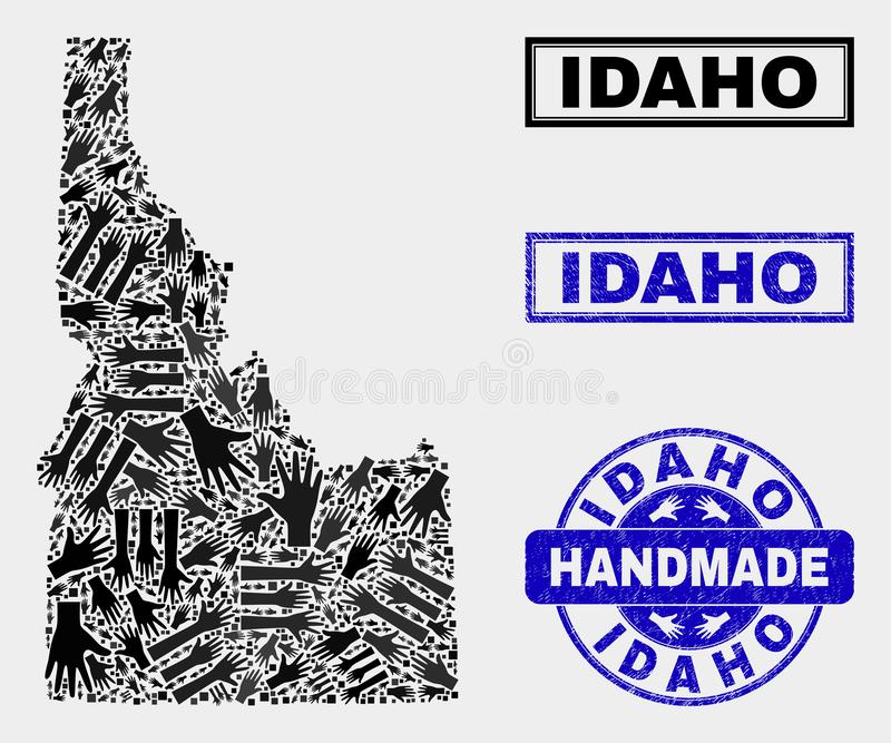 Handmade Composition of Idaho State Map and Scratched Stamp. Vector handmade collage of Idaho State map and rubber stamp seals. Mosaic Idaho State map is stock illustration