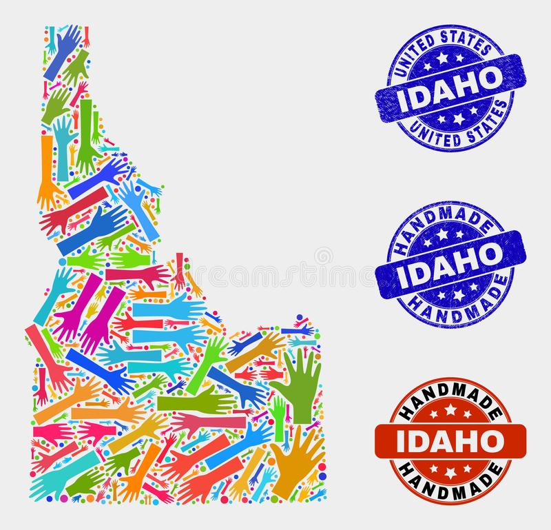 Hand Composition of Idaho State Map and Scratched Handmade Seals. Vector handmade combination of Idaho State map and corroded stamp seals. Mosaic Idaho State map royalty free illustration