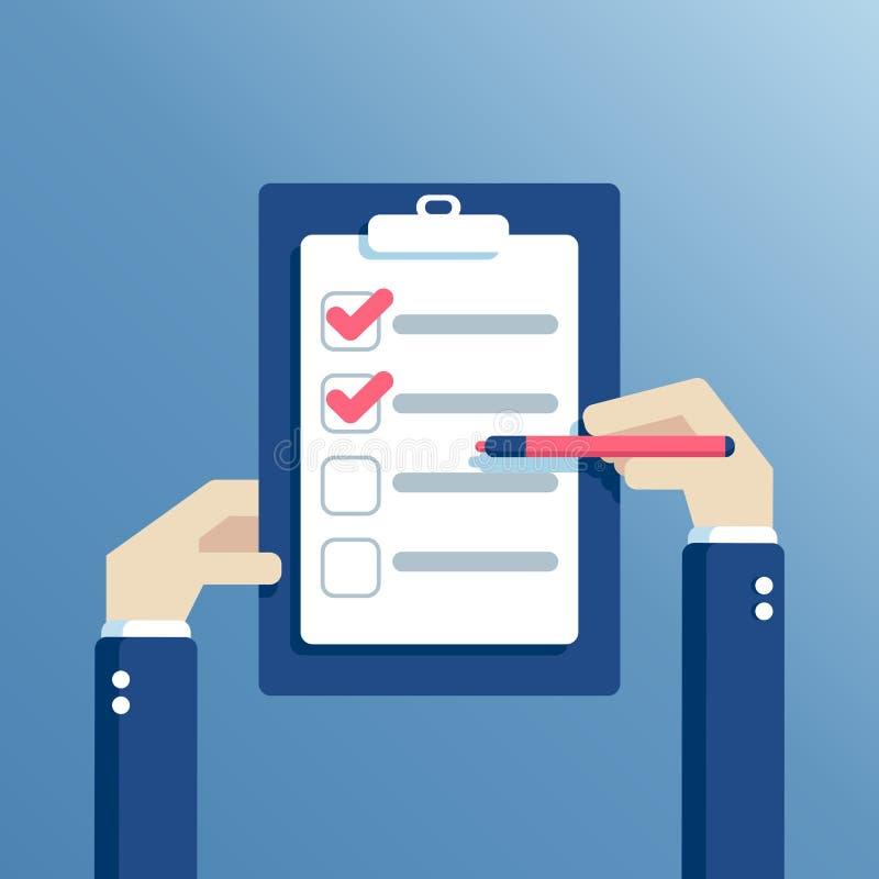 Vector hands and checklist vector illustration