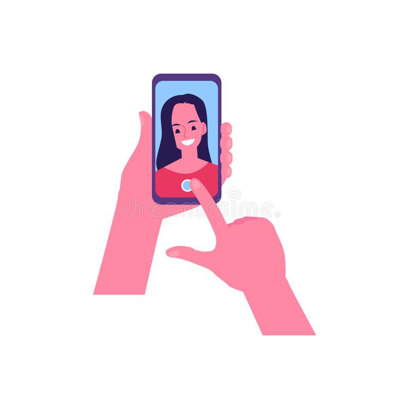 Vector cute cheerful young woman making selfie. Vector hands holding smartphone with cute cheerful woman selfie in screen. Smiling young girl selfie photo in vector illustration