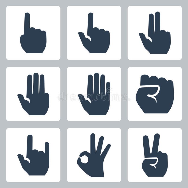Vector hands icons set vector illustration
