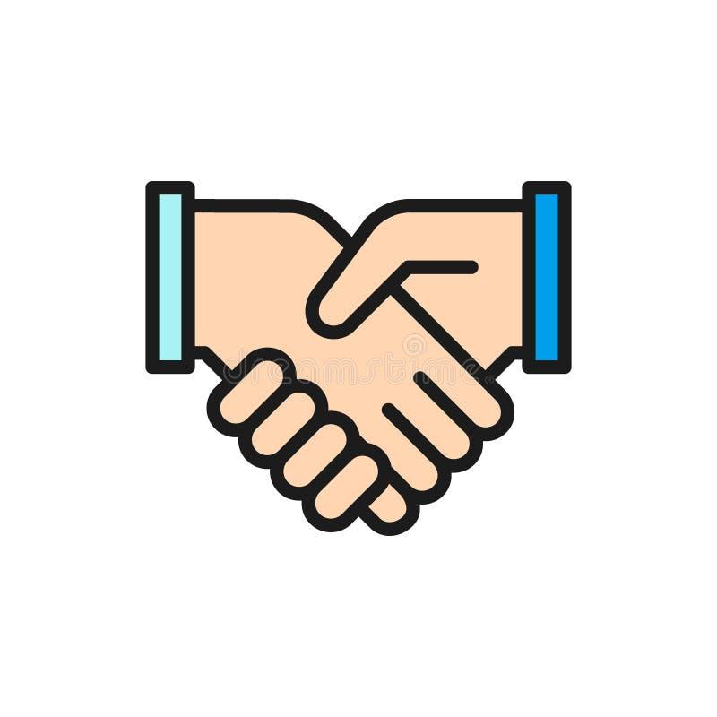 Vector handshake, partnership, teamwork and friendship flat color line icon. royalty free illustration