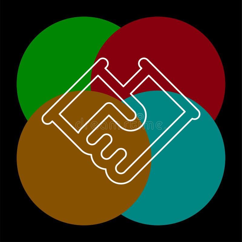 Vector handshake symbol, contract icon. Deal agreement. friendship, partnership or teamwork concept. Thin line pictogram - outline editable stroke vector illustration