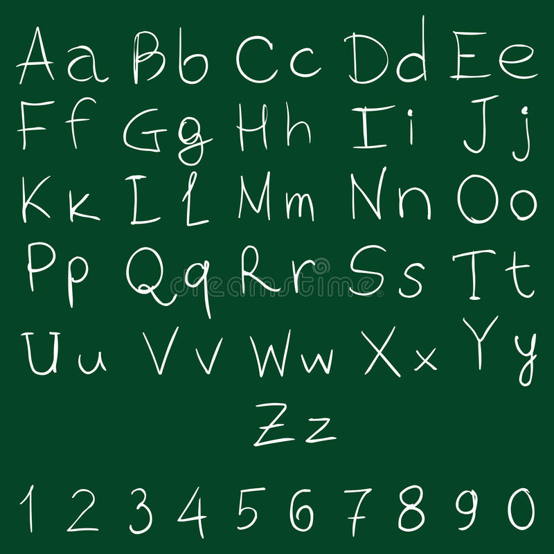 Vector Handwritten Alphabet with Numbers stock illustration