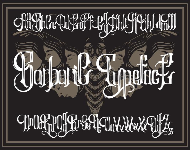 Vector handwritten gothic font for unique lettering with hand drawn illustration of surreal moth with human faces. royalty free illustration