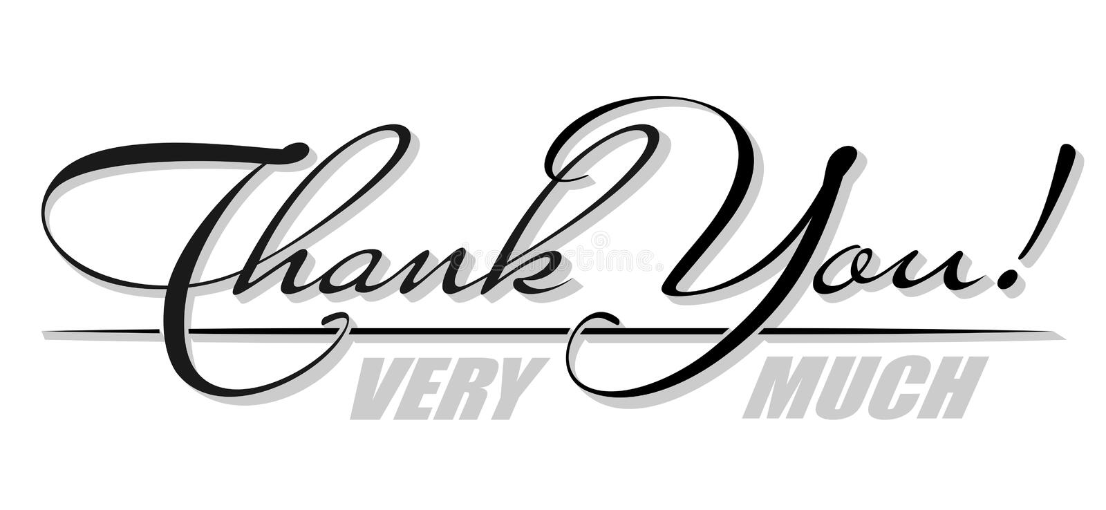 "Vector handwritten isolated text ""Thank You very much"" with shadow. Hand drawn calligraphy lettering vector illustration"