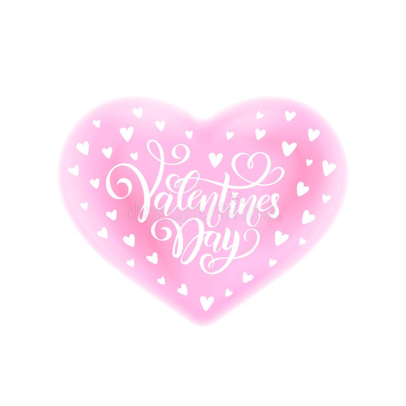 Vector handwritten lettering Happy Valentines Day. Calligraphy text Valentine`s Day in pink heart watercolor effect royalty free stock photo