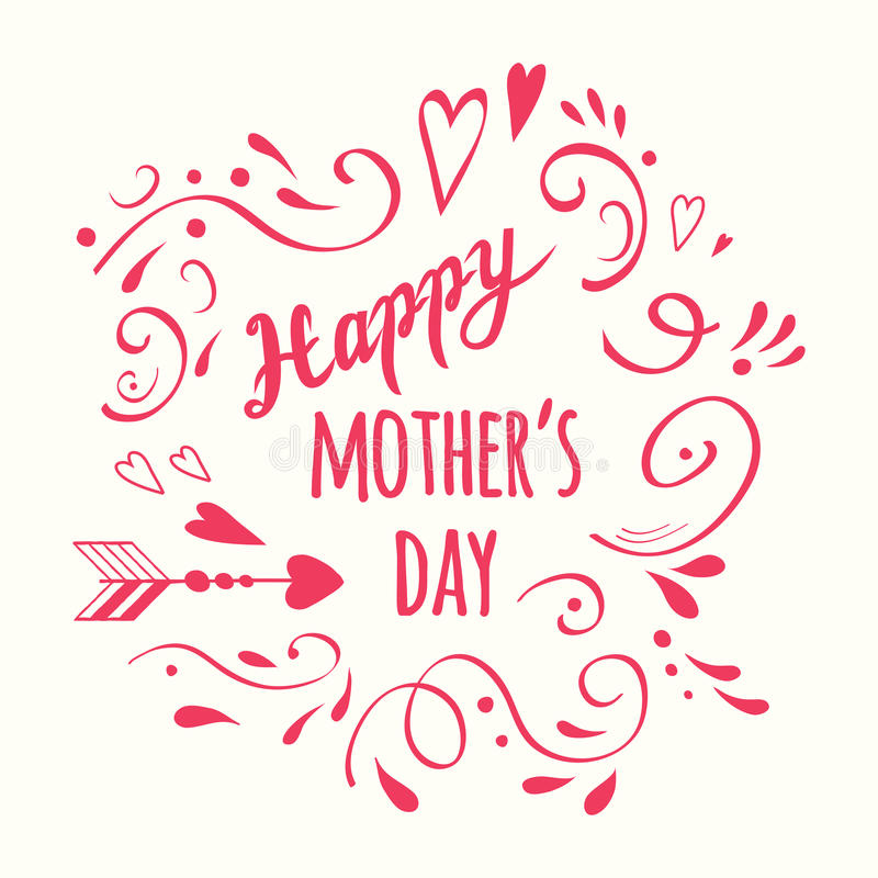 Vector handwritten romantic Happy Mother`s Day calligraphy diagonal banner decorated floral pink ornate stock illustration