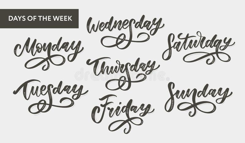 Vector handwritten week days and symbols set. Ink font. Stickers for planner and other. Clipart. Isolated. Vector handwritten week days and symbols set. Ink font royalty free illustration