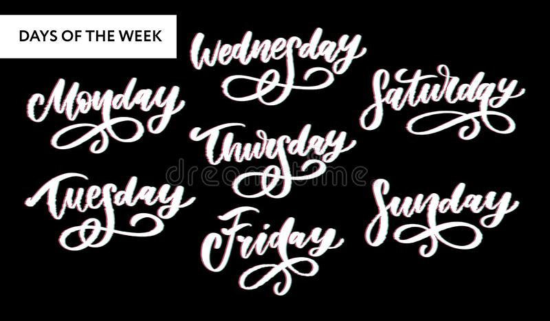 Vector handwritten week days and symbols set. Ink font. Stickers for planner and other. Clipart. Isolated. Vector handwritten week days and symbols set. Ink font vector illustration