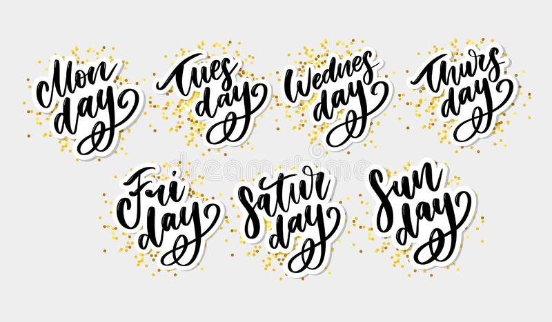 Vector handwritten week days and symbols set. Ink font. Stickers for planner and other. Clipart. Isolated. Vector handwritten week days and symbols set. Ink font stock illustration