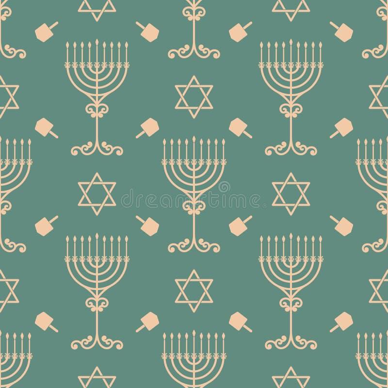 Vector hanukkah seamless pattern with menorah, dreidel and david star. vector illustration