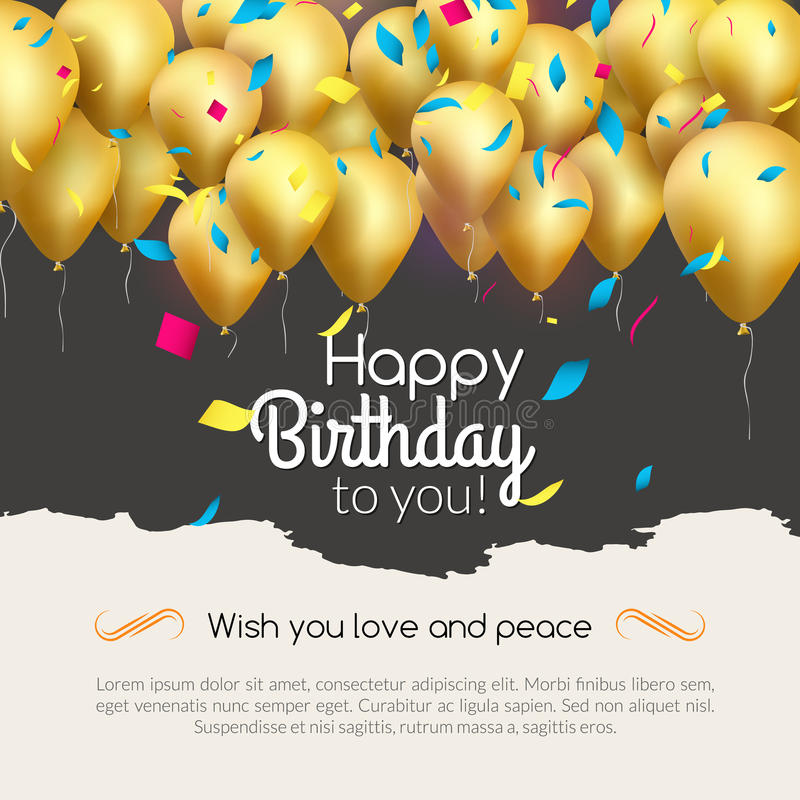 Vector happy birthday card with golden balloons and confetti, party invitation. royalty free illustration