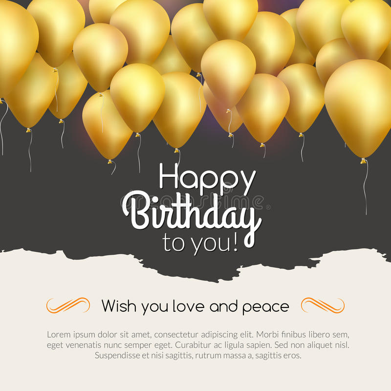 Vector Happy Birthday Card With Golden Balloons Party Invitation