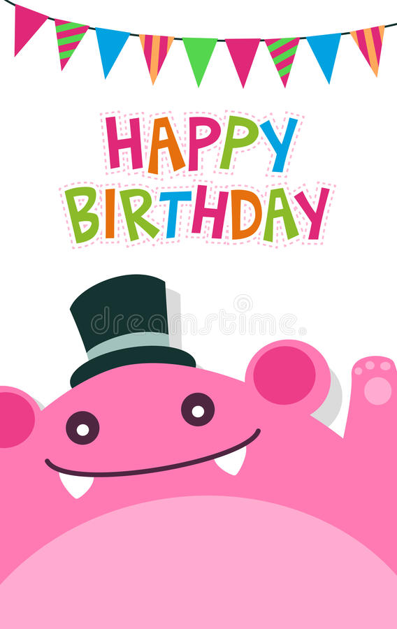 Vector Happy Birthday Card Template With Cute Pink Monster And Flag