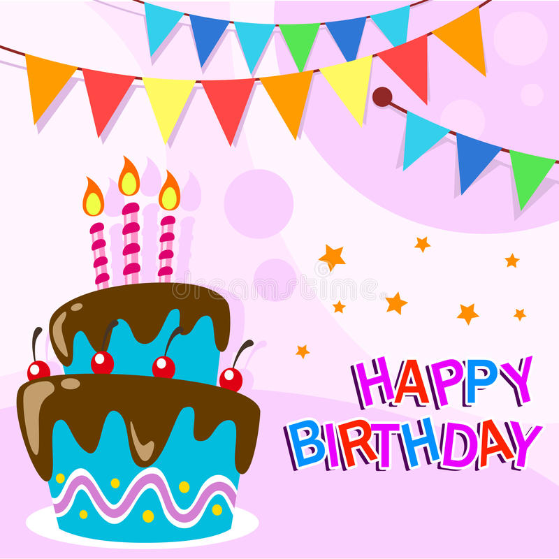 Download Vector Happy Birthday Card Template With Fun Cartoon Birthday Cake  Stock Vector   Illustration Of