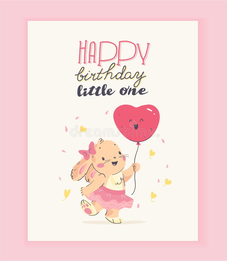 Vector happy birthday congratulation card design with cute little baby rabbit girl hold air balloon and text congratulation isolat vector illustration