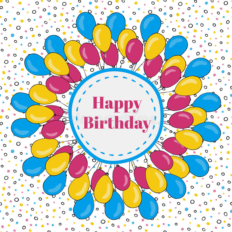 Vector happy birthday frame with colorful balloons. Background for holiday cards stock illustration