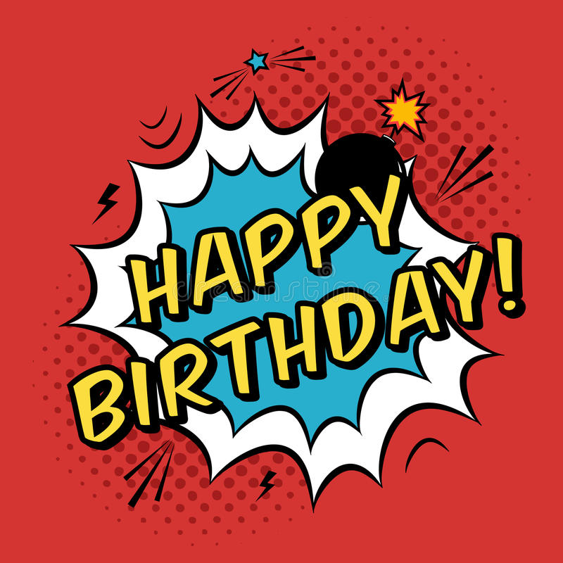 Vector Happy Birthday Greeting Card In Comic Book Style