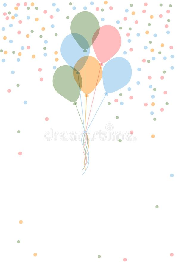 Vector happy birthday greeting card template with bunch flying helium balloons and colorful confetti on white background with. Empty space for text vector illustration