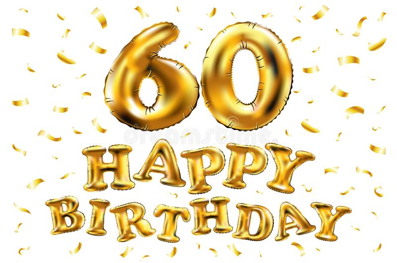 Vector happy birthday 60th celebration gold balloons and golden confetti glitters. 3d Illustration design for your greeting card,. Invitation and Celebration vector illustration
