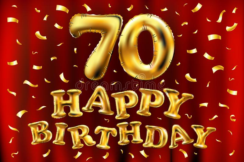 Vector happy birthday 70th celebration gold balloons and golden confetti glitters. 3d Illustration design for your greeting card, vector illustration