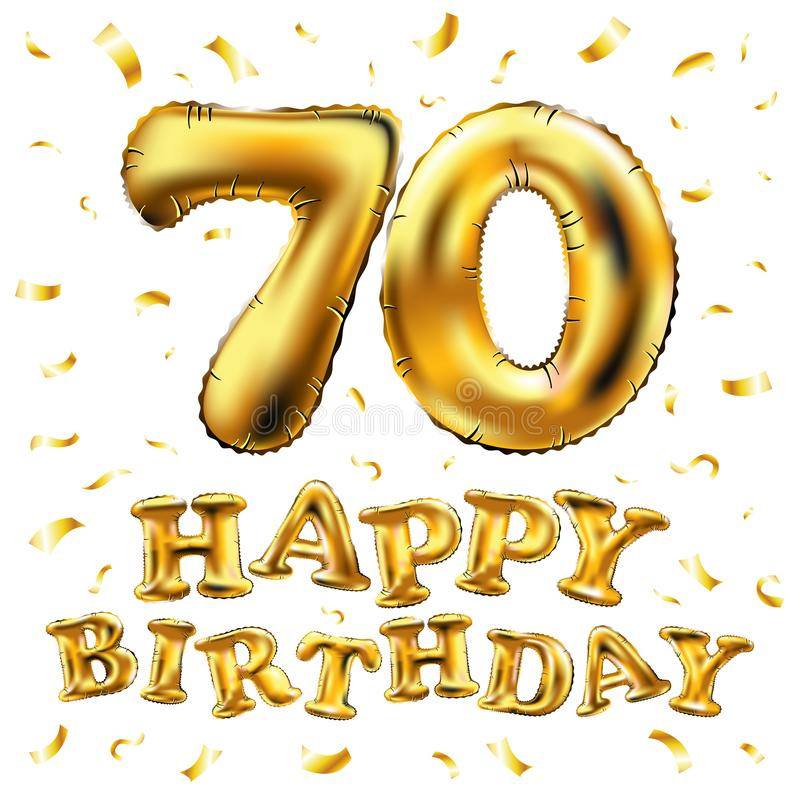 Vector Happy Birthday 70th Celebration Gold Balloons And Golden