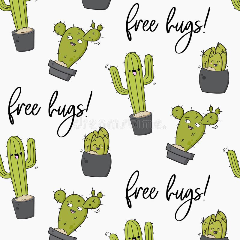Vector happy cactus print. Cool kids design with succulents. Free hugs cacti decoration. Kawaii doodle cartoon royalty free illustration