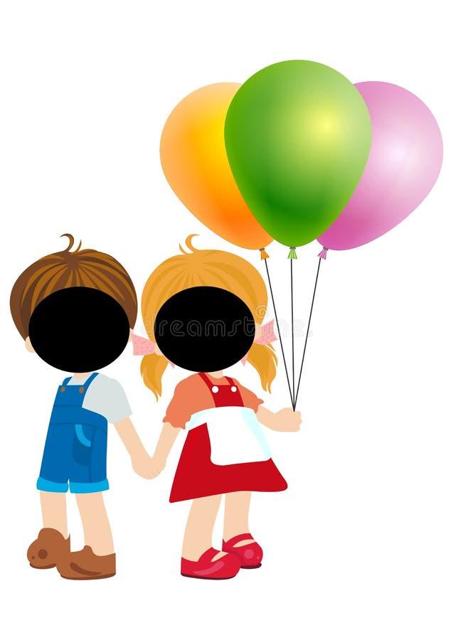 Vector - Happy cartoon young girl and boy with balloon. Cartoon illustration stock illustration