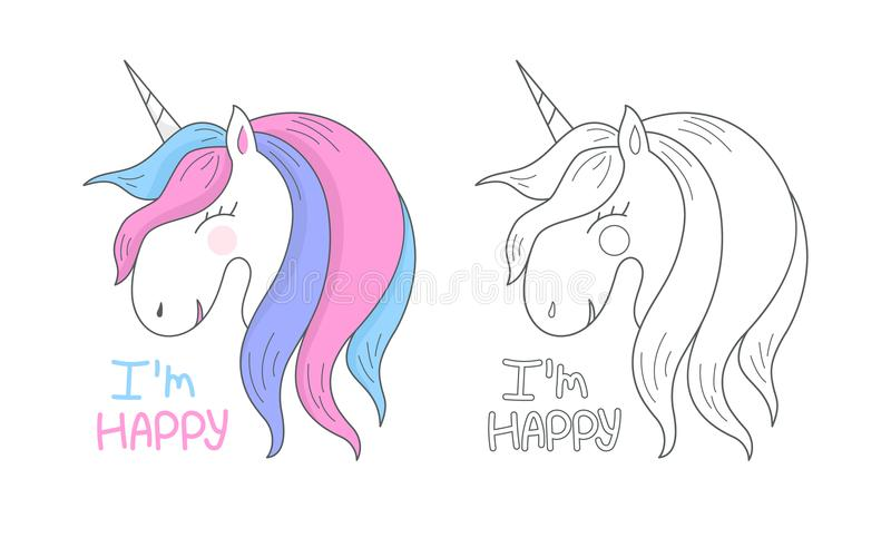 Vector happy cute unicorn isolated on white background. Head portrait horse, outline, contour. royalty free illustration
