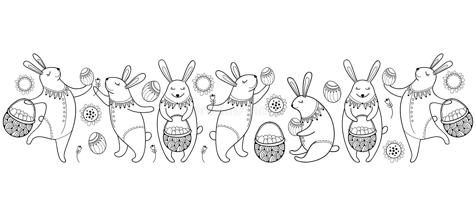 Vector Happy Easter border with outline easter rabbit, egg and basket isolated on white background. Cartoon elements with bunny. Vector Happy Easter border with vector illustration