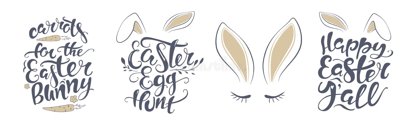 Vector Happy Easter bunny lettering card. quote to design greeting card, poster, banner, printable wall art, t-shirt and royalty free illustration