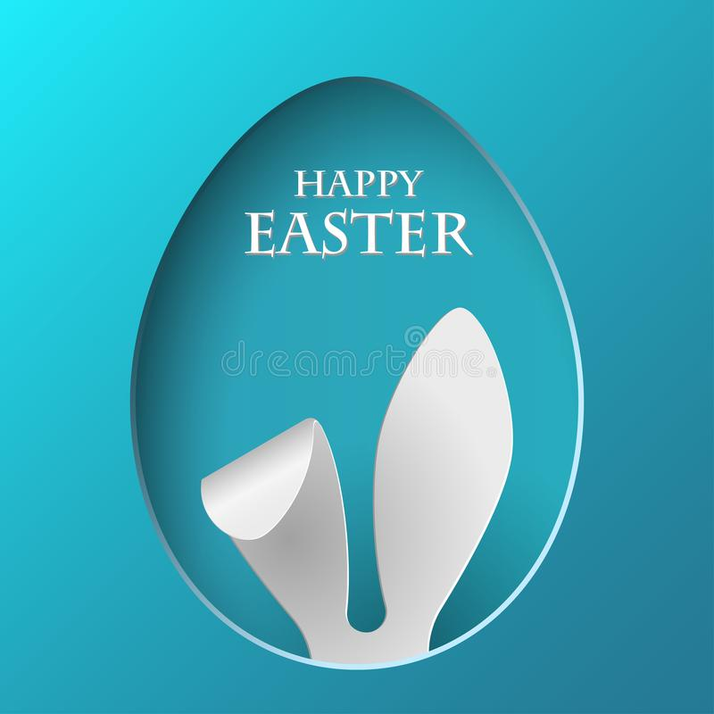 Vector Happy Easter Greeting Card with Color Paper Easter Ears on Blue Background vector illustration