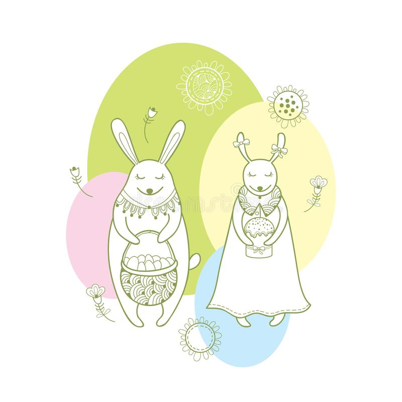 Vector happy easter greeting card with outline rabbit couple and download vector happy easter greeting card with outline rabbit couple and traditional easter symbol in pastel m4hsunfo Images