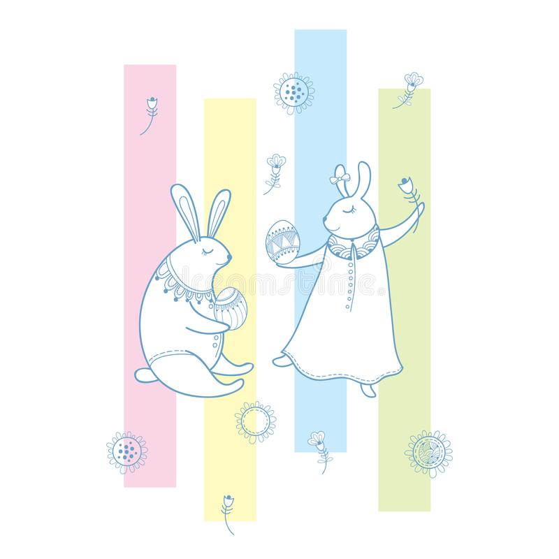 Vector happy easter greeting with outline rabbit couple traditional download vector happy easter greeting with outline rabbit couple traditional easter symbol and stripes in m4hsunfo