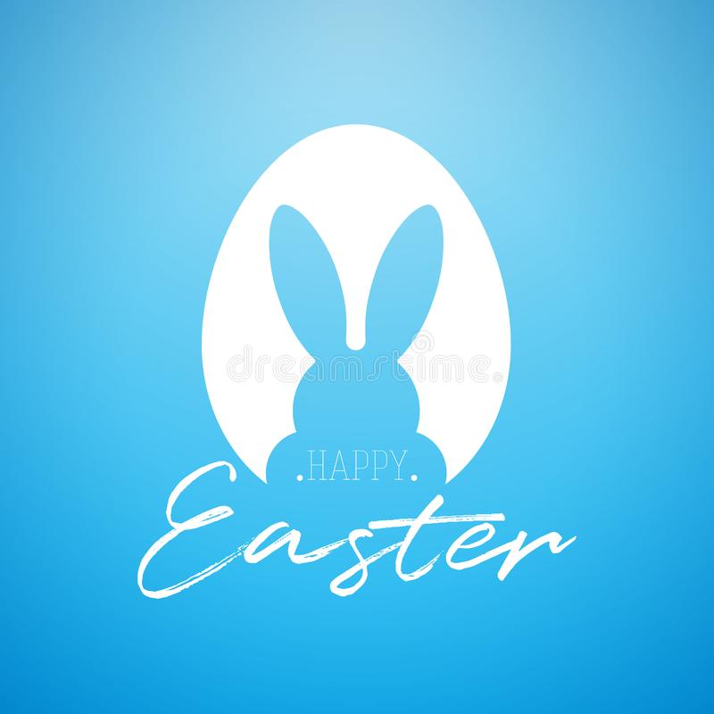 Vector Happy Easter Holiday Illustration with Rabbit Ears in Cutting Egg and HandwritingTypography Letter on Blue stock illustration