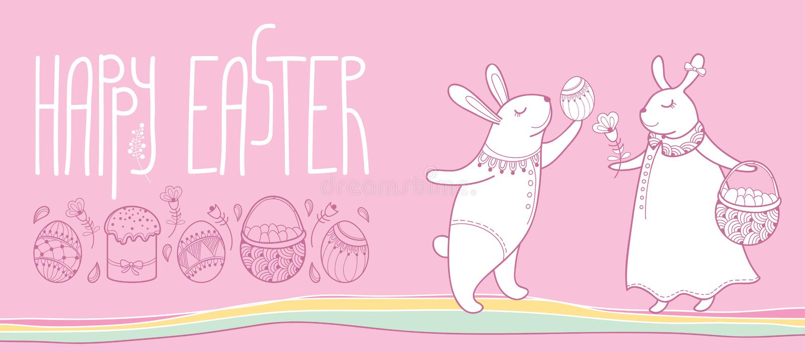 Vector happy easter horizontal greeting card with outline easter download vector happy easter horizontal greeting card with outline easter rabbit couple and traditional easter symbol m4hsunfo